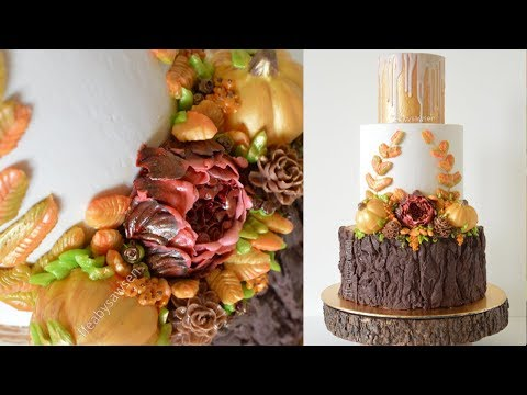 Autumn Buttercream Flower wreath Wedding cake decorating tutorial - with chocolate tree stump cake