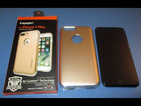 Installing Spigen Iphone 7 plus Case Hybrid Armor Air Cushion Technology Military Grade installation