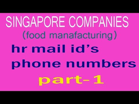 jobs in singapore (singapore food comapnies HR mail ids,phone no.s)