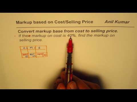 How to convert Markup based on Cost to Selling Price