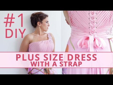Sew Plus Size Dress with a Strap and Drapery. Part 1