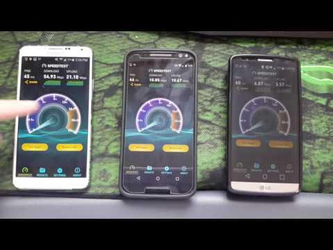 Verizon SpeedTest, AT&T, Sprint.