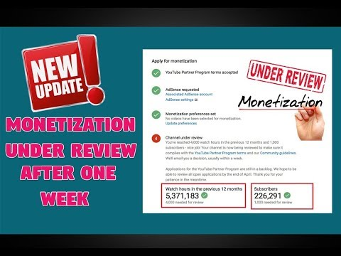 Youtube Updates related Youtube Monetization under review after 1k sub & 4k hrs watchtime