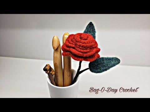 How To Crochet and Felt a Rose on a Stem Crochet Felting Flower Tutorial #482