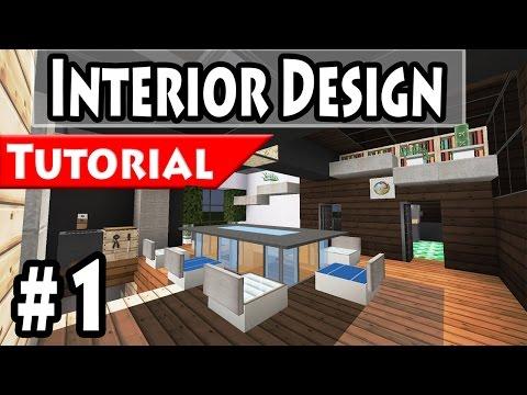 Minecraft: Modern House Interior Design Tutorial Part 1 - 1.8 [ How to make ]