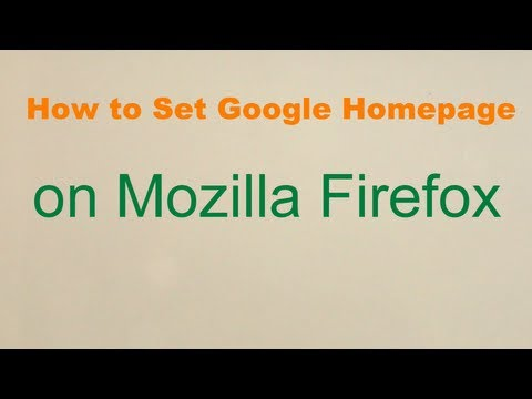 How to set Google as home page on Mozilla Firefox in Windows 8