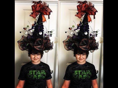 How to make a witch hat with a cone basket and a wreath Great for a centerpiece