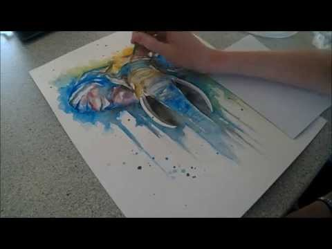 Colourful African Elephant - Speed painting by Fiona-Clarke.com