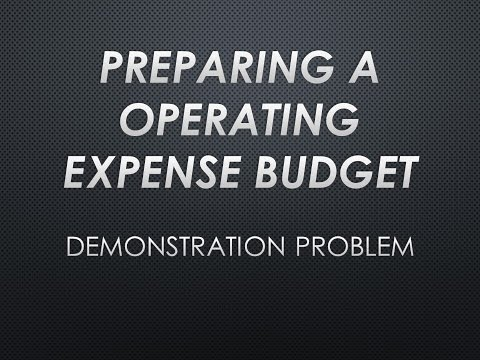 Preparing an Operating Expense Budget Demonstration Problem