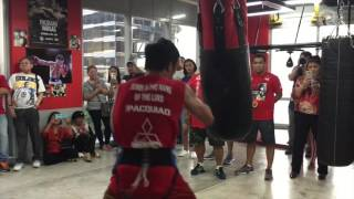 Manny Pacquiao pounds the punching bag for Jeff Horn fight