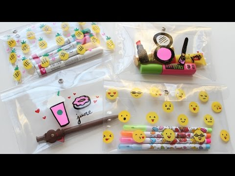 DIY Pencil Cases - DIY Makeup Bag (Starbucks, Emoji, Pineapple, & Makeup)