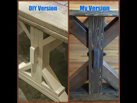Seamless Glue Up  :  X-Base Table Legs with through Mortise