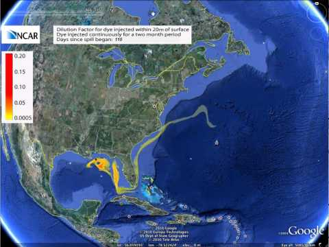 Ocean currents and oil spill - Google Earth version - 0.0005+ concentrations