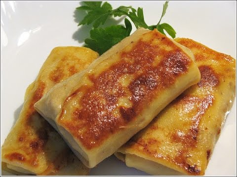 Homemade Crepes.How to Make Crepes.Fried Beef Pancakes.Pancakes Stuffed with Ground Meat.