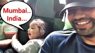 Ms Dhoni Daughter Ziva Dhoni Cheering For India With Rohit Sharma In Bus