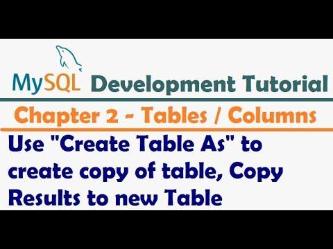 Create Table AS in MySQL or MariaDB   MySQL Developer Tutorial   MariaDB Development Tutorial