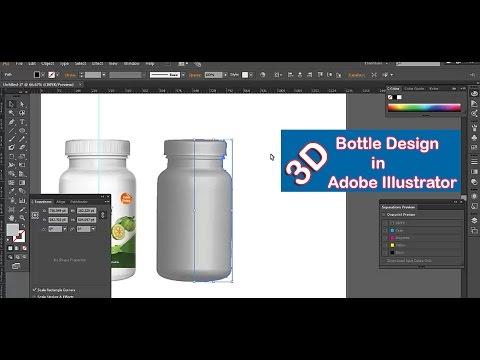 How to create 3D bottle in Adobe Illustrator| Adobe Illustrator CC| 2017