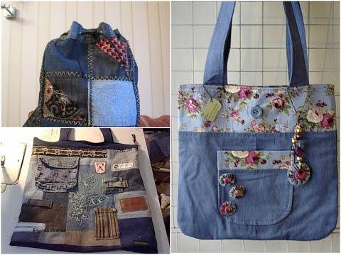 DIY Fashion Jeans Bag Ideas! Recycled Denim Craft Ideas!