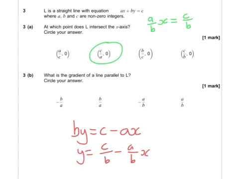 AQA Further Maths GCSE 2016 Paper 2 - Q3 - Equations of Lines