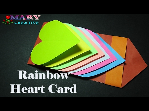How to make a waterfall card step by step | Hearts cards | Waterfall card | Rainbow heart