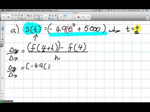 Instantaneous Rate of Change, Difference Quotient Grade 12 Advanced Functions Lesson 2 3 1 26 13