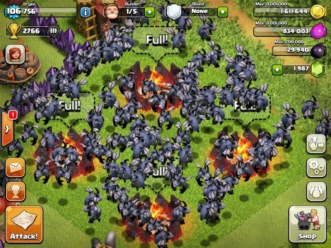 Clash of Clans - 135 Level 5 Minion Attack Epic WIN!!!!!