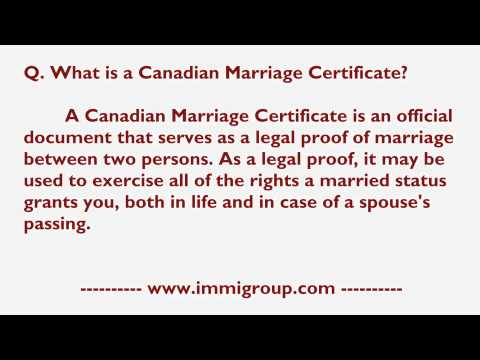 What Is A Canadian Marriage Certificate?