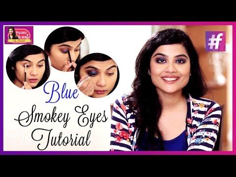 Dramatic Blue Smokey Eyes   Peaches And Blush   By Mehak