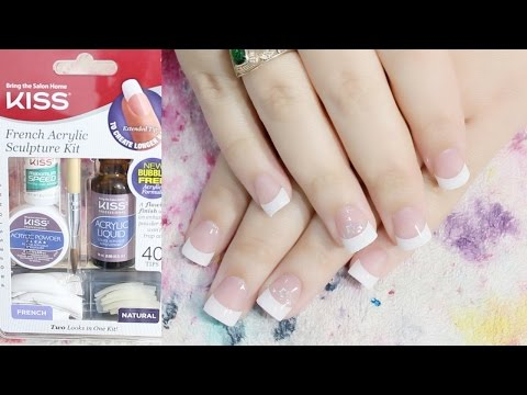Acrylic Nail For the First Time | KISS French Acrylic Sculpture Kit | Acrylic Nails At Home
