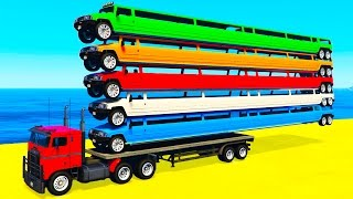 COLOR LONG CARS on TRUCK in Spiderman Toddlers Cartoon and Colors for Kids Nursery Rhymes