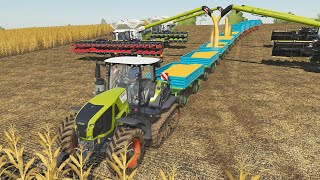 Traktor Class Turbo Train on the caterpillars and four Mega Combine Harvester LS19 we play together