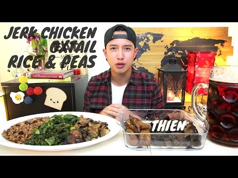 [mukbang with THIEN]: Jamaican Jerk Chicken, Oxtail, Rice & Peas, Plantains, and Kale (Caribbean)