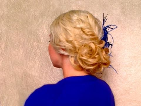 Easy curly updo hairstyle for medium long hair Wedding prom hair tutorial