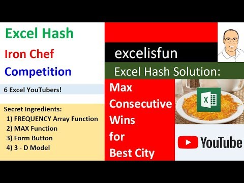 Max Consecutive Wins for Best City: Array Formula, Lookup 3-D Model - Excel Hash Competition