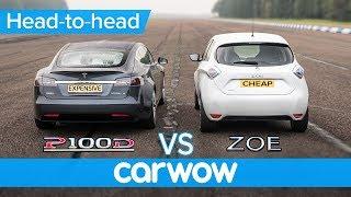 Tesla Model S vs Renault Zoe - DRAG RACE, BRAKE TEST & RANGE ANXIETY challenge | Expensive vs Cheap