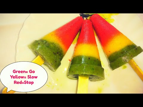Traffic light popsicle, teach kids about traffic rules through icecream stick. Best way to eat fruit
