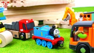 Download Wooden trains like brio for kids with Thomas the train, trucks, car wash, construction vehicles