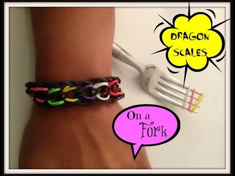 Dragon Scale Bracelet on Fork without the No Loom
