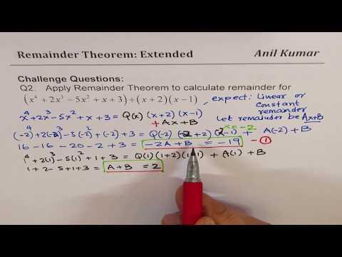 Polynomial Remainder Theorem Formula when Divisor is Quadratic