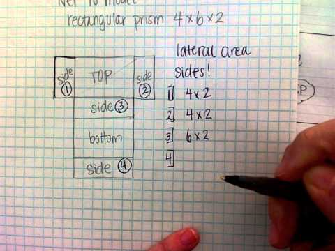 net and surface area of a rectangular prism