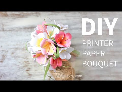 Free template: How to make paper bouquet of Plumeria from printer paper, SO EASY