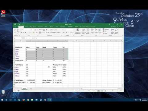 Tutorial - Excel 2015  - Basic Calculated Spreadsheet