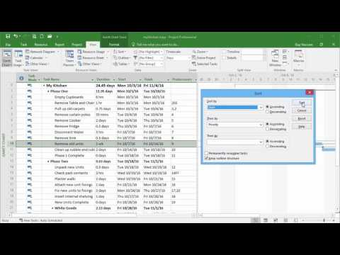 Microsoft Project 2016 Tutorial - An Introduction to Sorting and Filtering Tasks