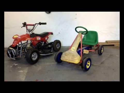 Kids kettcar Pedal gokart with 49cc mini moto engine build project.