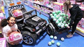 100 LOL Surprise Dolls Toy Hunt - Power Wheels Ride On Car