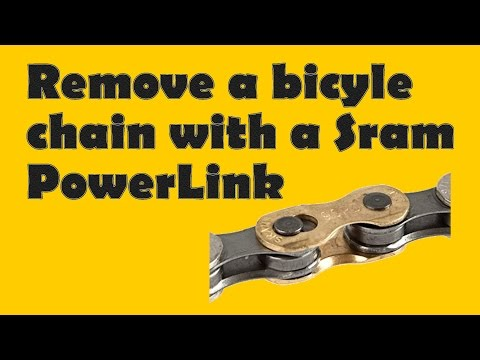 Removing a bicycle chain with a sram quick link.