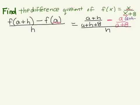 How to find the difference quotient of f(x) = x/(x+8) (HW2: Problem 2)