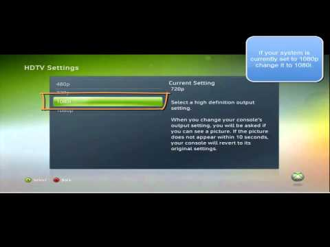 Xbox 360 Default display settings for the HD PVR