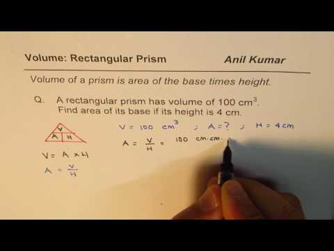 Find Area of Base from height and Volume of Rectangular Prism