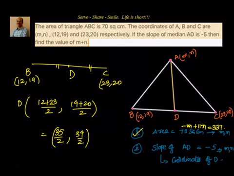 Coordinate Geometry: Find the coordinates of a vertex given slope of median and other 2 vertices